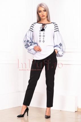 Pantaloni de dama negri office din tercot elastic cu buzunare laterale