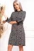 Rochie de zi in carouri cu imprimeu floral midi dreapta cu maneci trei sferturi