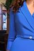 Rochie Atmosphere de seara albastra trei sferturi cambrata din bistrech cu revere