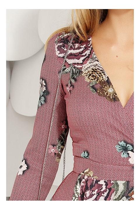 Rochie Fofy de zi cu imprimeu floral in clos decolteu in V si maneca lunga