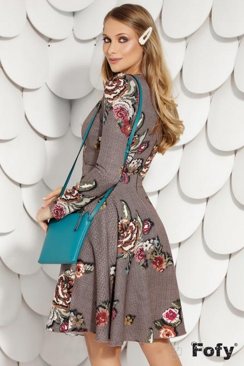 Rochie Fofy de zi cu imprimeu floral traditional decolteu in V si maneca lunga