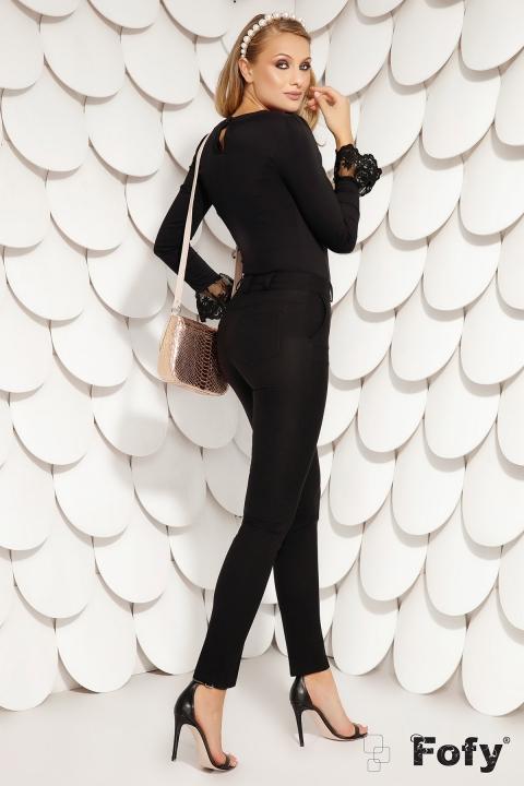 Pantaloni Fofy de dama office conici negri