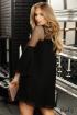 Rochie Fofy neagra de seara scurta din voal plisat cu maneca tip clopot