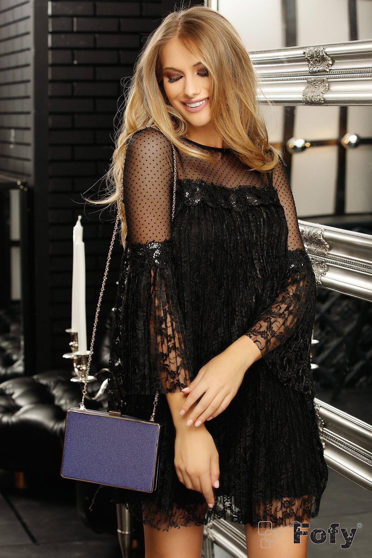 Rochie Fofy de seara neagra din dantela plisata cu maneca tip clopot