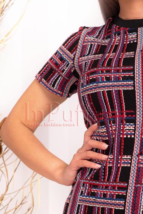 Rochie de zi scurta in carouri multicolore
