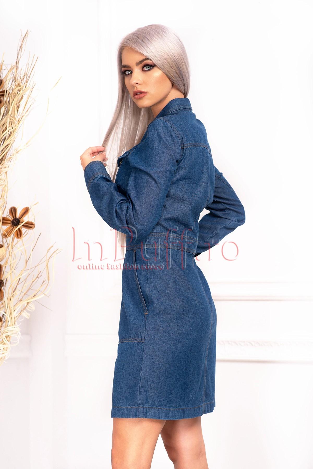 Rochie de zi scurta din denim cu maneca lunga capse in fata si buzunare