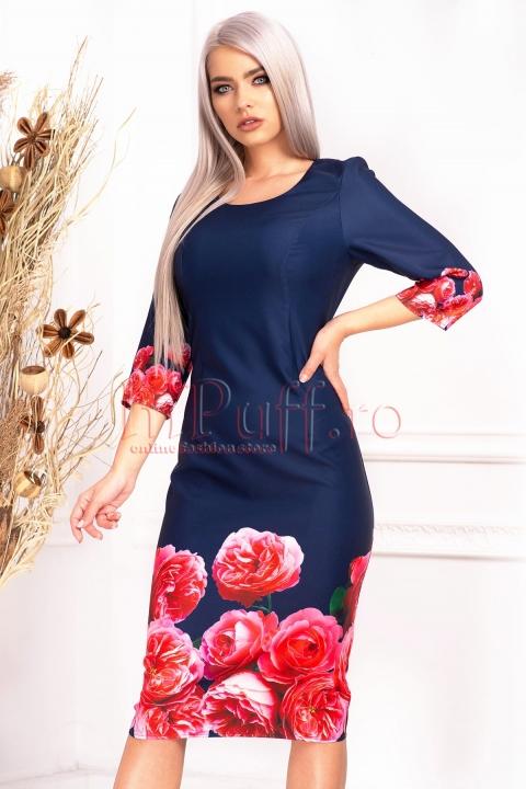 Rochie de zi bleumarin cu imprimeu floral si maneca trei sferturi