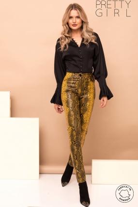 Pantaloni dama Pretty Girl lungi cu talie inalta si imprimeu reptila din piele ecologica