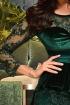 Rochie Atmosphere verde de ocazie trei sferturi mulata din catifea si dantela cu peplum in talie
