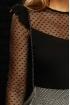 Bluza Fofy neagra eleganta cu maneca si decolteu din tul cu inimioare si volane din dantela in zona umerilor
