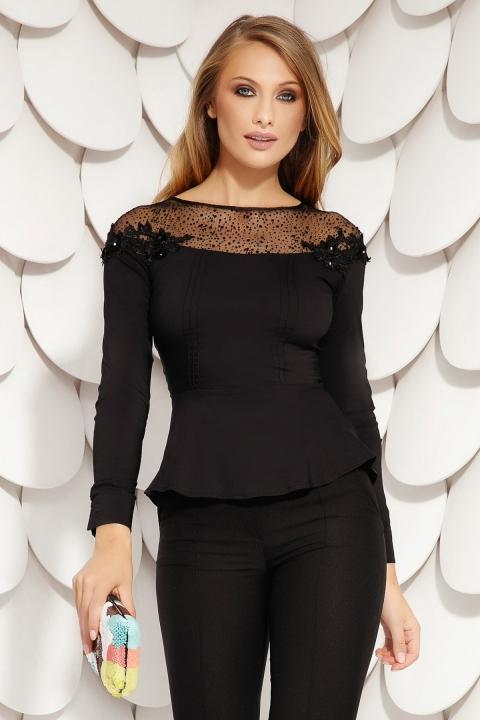 Bluza Fofy neagra asimetrica cu tul si broderie in zona decolteului maneca lunga si nasturi pe spate