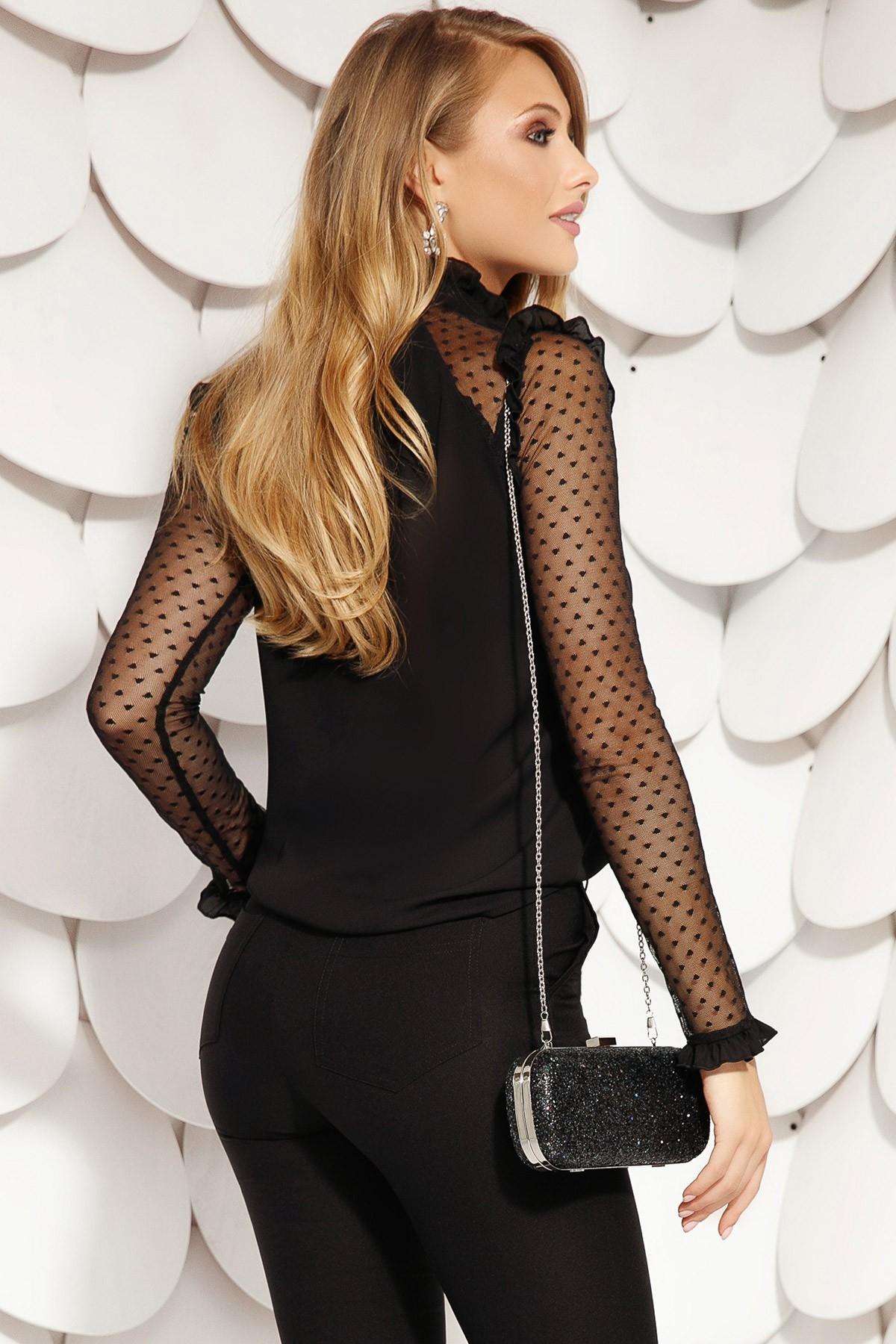 Bluza Fofy neagra eleganta din voal cu maneca lunga din tul cu inimioare si brosa la gat