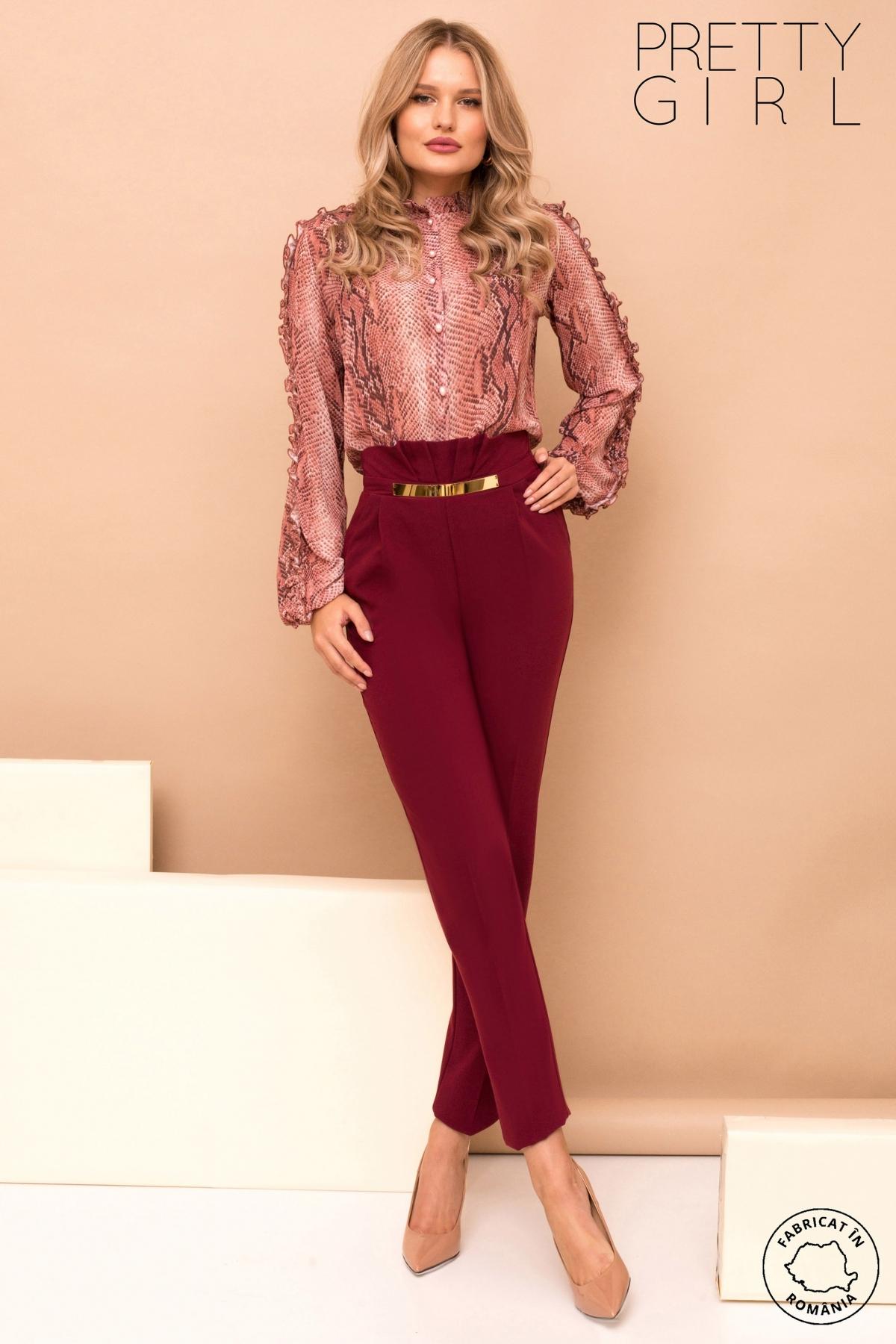 Pantaloni dama Pretty Girl cu talie inalta si accesoriu auriu
