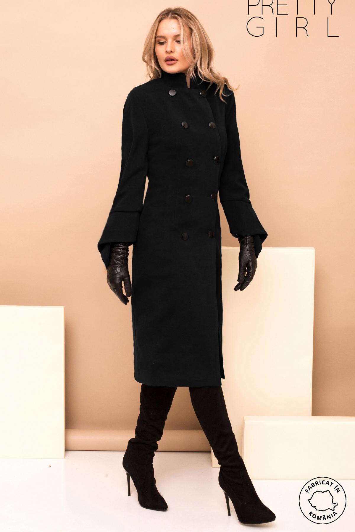 Palton dama Pretty Girl negru cu maneca evazata si guler tip tunica