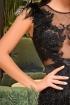 Rochie Atmosphere neagra de seara trei sferturi din franjuri cu bust transparent si fulgi la umeri