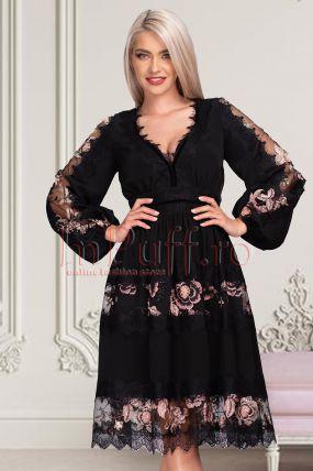 Rochie de ocazie neagra cu broderie florala midi in clos cu decolteu in V si maneca lunga