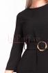 Rochie de zi neagra dreapta din stofa texturata cu maneca trei sferturi si cordon cu catarama in talie