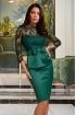 Rochie Atmosphere verde de ocazie trei sferturi cu bust si maneca din tul brodat si funda eleganta in talie