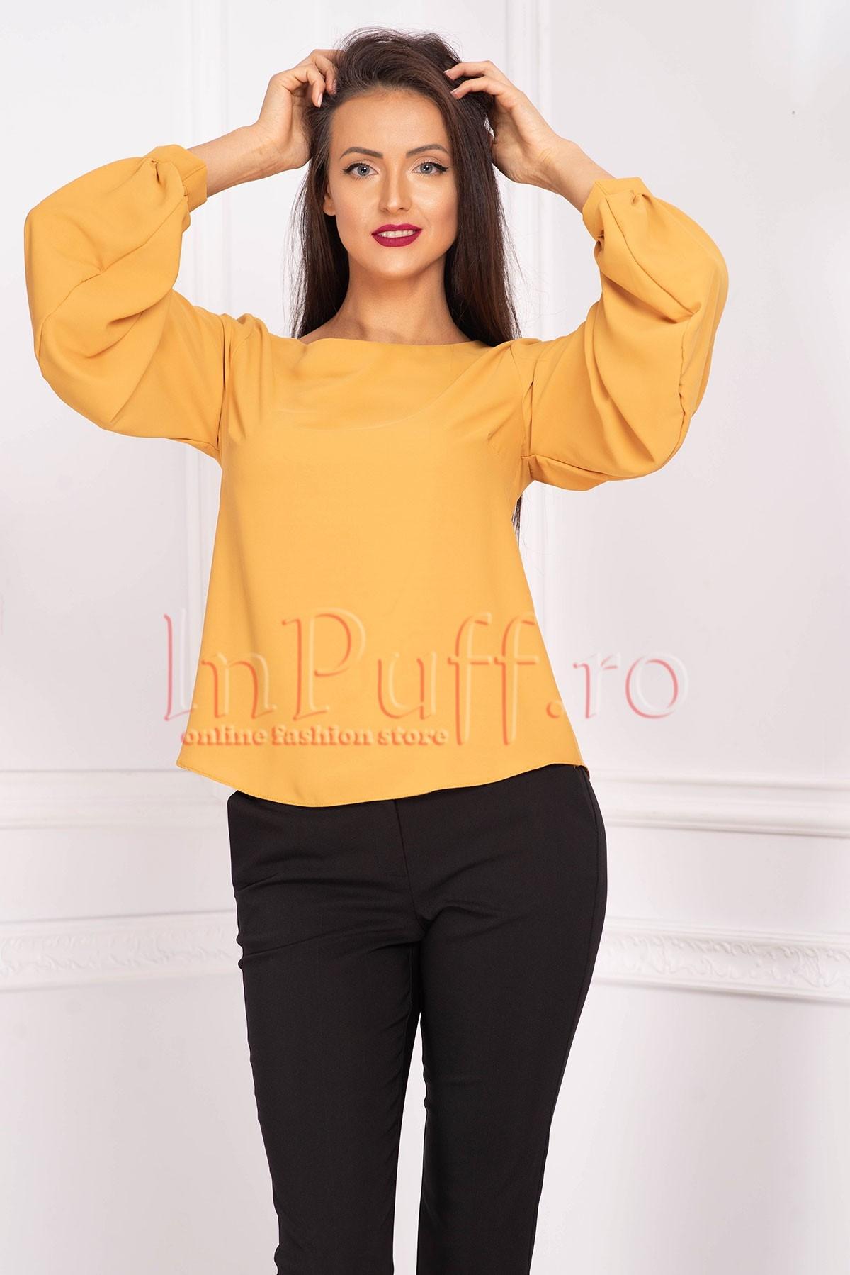 Bluza Effect galben mustar din voal cu maneca lunga bufanta