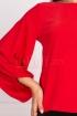 Bluza Effect rosie din voal cu maneca lunga bufanta