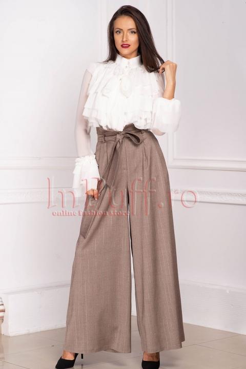 Pantaloni Effect cappuccino lungi evazati din stofa cu fir irizant