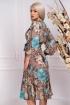 Rochie Effect de zi cu imprimeu floral si fir irizant auriu cu maneca lunga bufanta