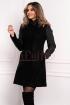 Palton dama Moze negru cambrat din stofa cu fas si guler tip tunica