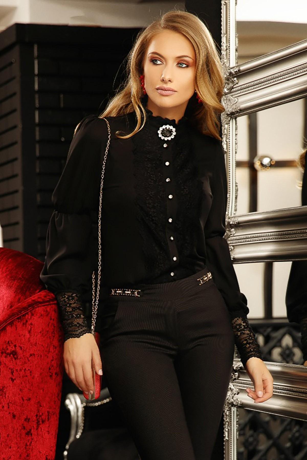 Camasa dama Fofy neagra cu insertii din dantela