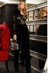 Salopeta dama Fofy neagra din catifea cu paiete in zona bustului