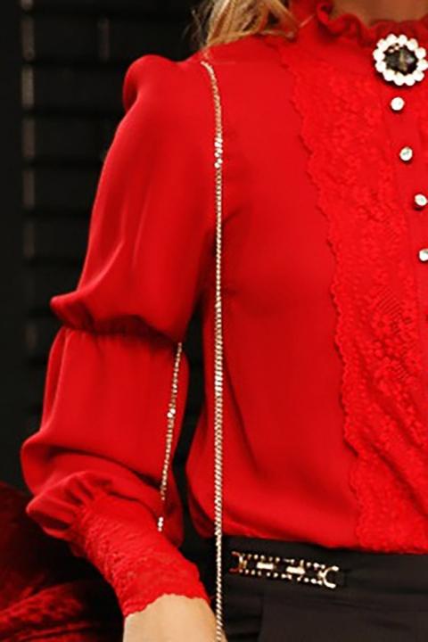 Camasa dama Fofy rosie cambrata cu insertii din dantela