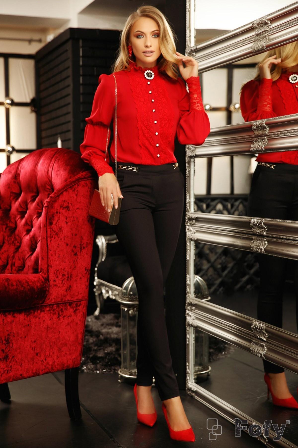 Pantaloni dama Fofy office negri conici cu buzunare laterale