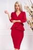 Rochie MBG rosie de ocazie midi conica din stofa cu decolteu in V si maneca trei sferturi