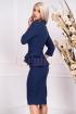 Rochie MBG bleumarin de ocazie midi conica din stofa cu peplum in talie si maneca trei sferturi