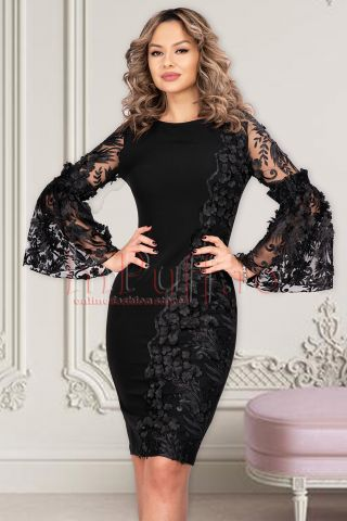 Rochie MBG neagra de ocazie trei sferturi conica din stofa cu broderie florala si maneca tip clopot