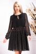 Rochie de seara neagra cu sclipici auriu in clos din voal cu maneca lunga