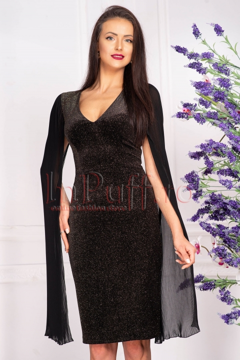 Rochie de seara neagra midi din catifea cu sclipici auriu si fasii din voal plisat aplicate pe umar