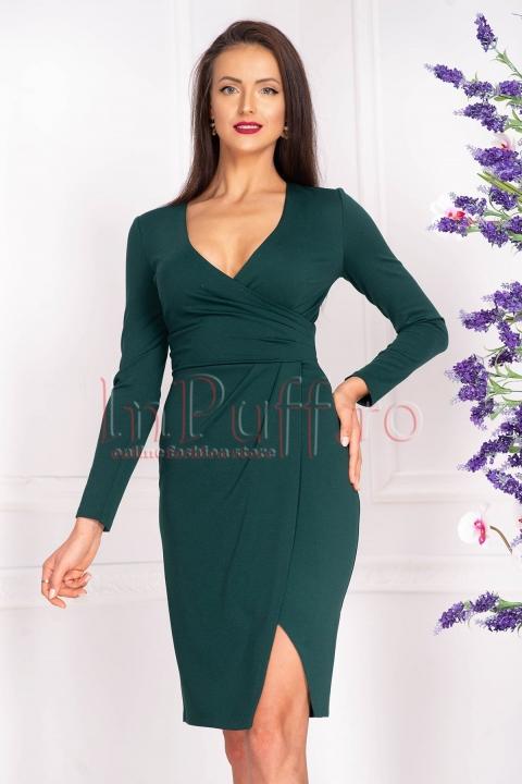 Rochie de zi verde midi din stofa cu decolteu in V petrecut si maneca lunga