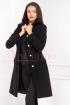 Palton dama negru cambrat cu nasturi tip perla din stofa cu guler rotund