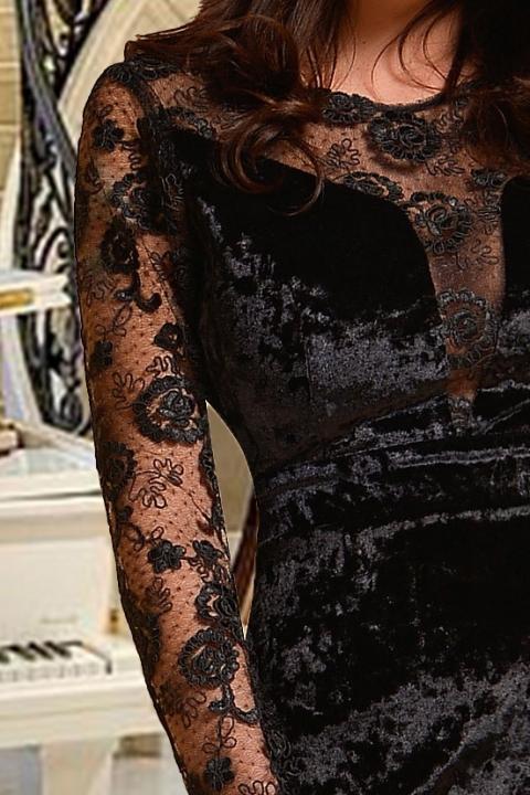 Rochie Atmosphere neagra de ocazie midi conica din catifea si dantela cu maneca lunga