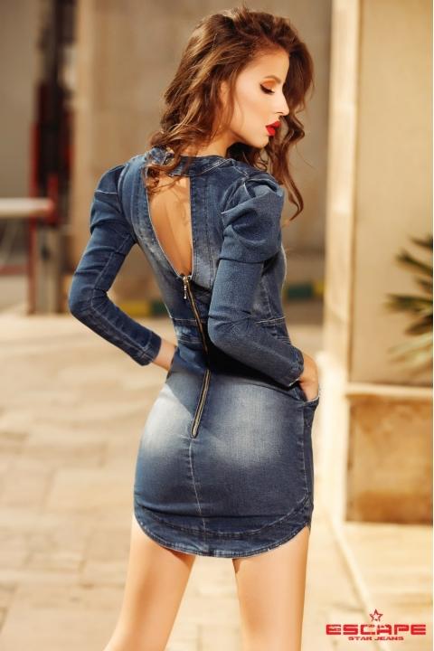 Rochie de zi scurta din denim cu strasuri aplicate si maneca lunga