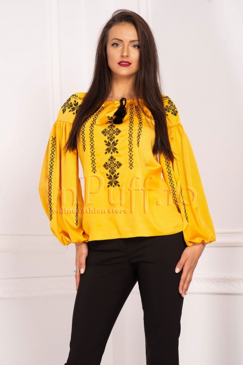 Bluza Effect galben mustar tip ie cu broderie traditionala si maneca lunga
