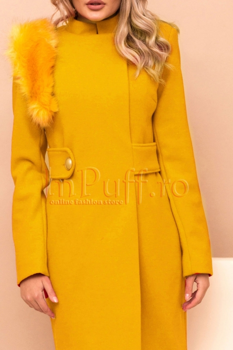 Palton dama Pretty Girl galben mustar cu accesoriu detasabil pe umar din blana ecologica