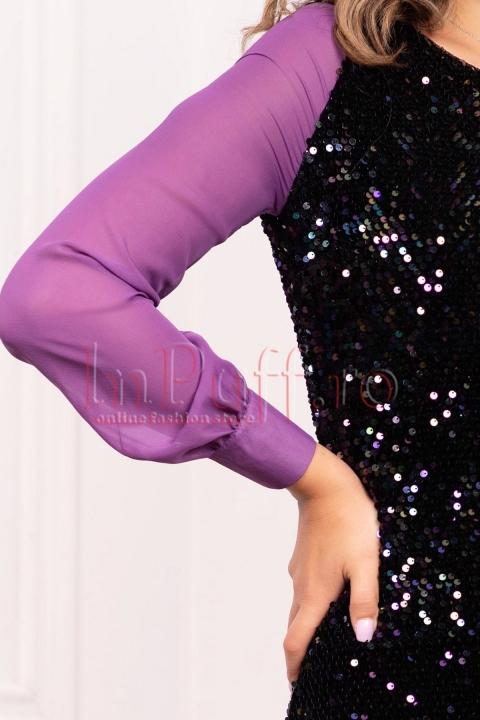 Rochie MBG de seara din paiete multicolore cu maneca lunga din voal mov