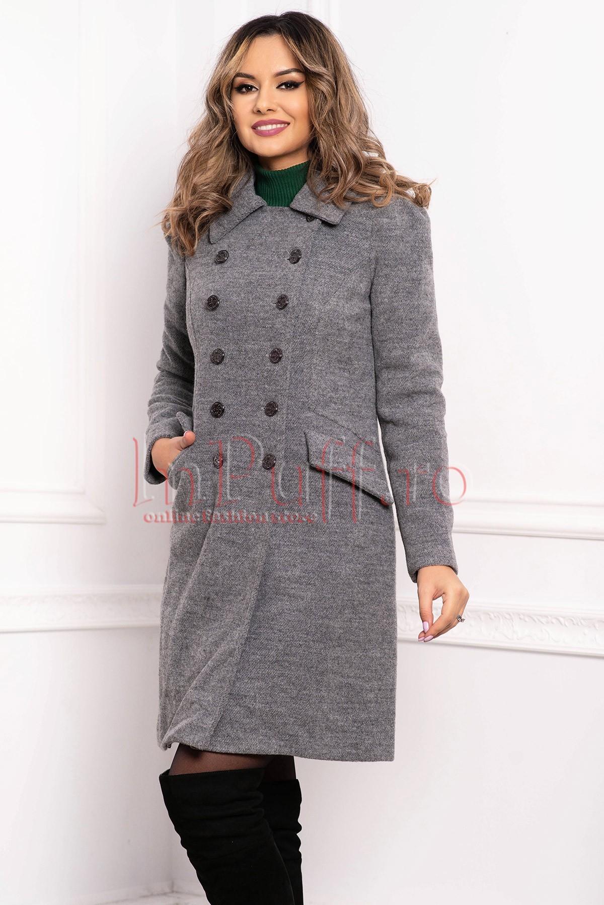 Palton dama MBG gri din lana raiata cu buzunare laterale cu clapa