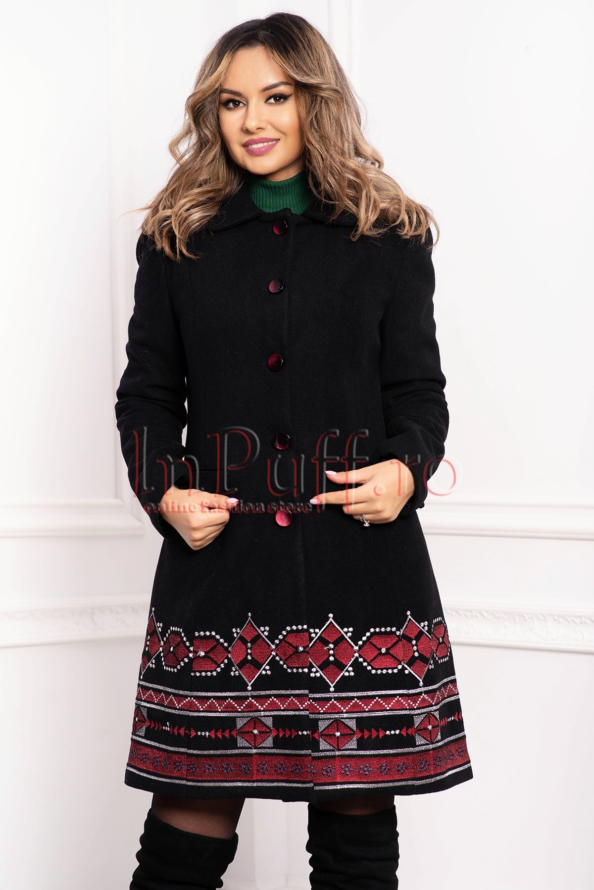 Palton dama MBG negru cu motive traditionale din lana cu buzunare laterale