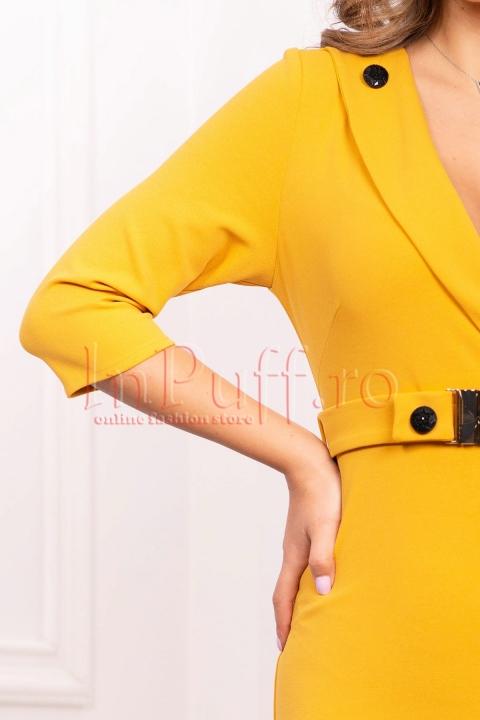 Rochie galben mustar de zi midi conica cu decolteu in V si maneca trei sferturi