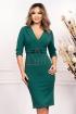 Rochie verde de zi midi conica cu decolteu in V si maneca trei sferturi