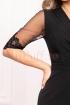 Rochie Effect neagra de ocazie midi din stofa cu decolteu in V petrecut si maneca trei sferturi din tul cu broderie