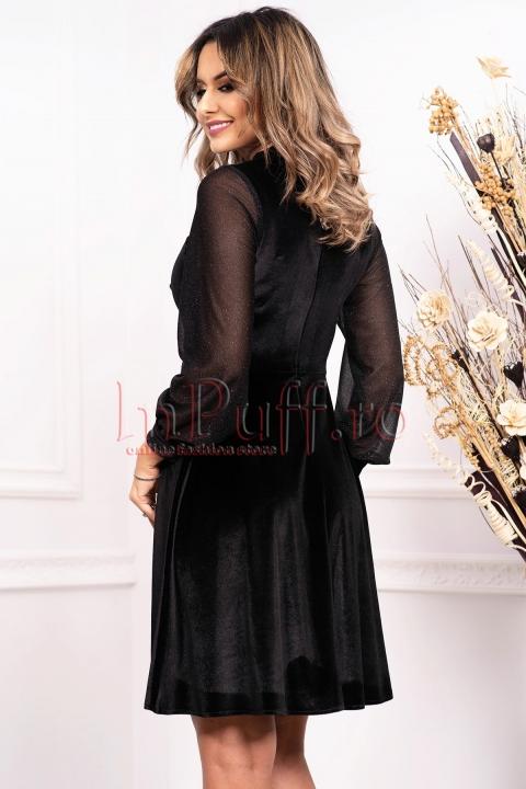 Rochie neagra de ocazie midi in clos din catifea cu maneca lunga cu sclipici