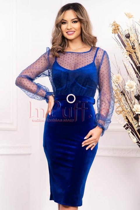 Rochie albastra de seara midi din catifea cu bustul si manecile din tul si catarama cu strasuri in talie
